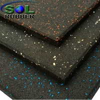SOL RUBBER wholesale rubber gym flooring mat used EPDM granules surface, bigger SBR granules bottom