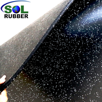 SOL RUBBER wholesale rubber gym flooring mat used rubber roll surface, bigger SBR granules bottom