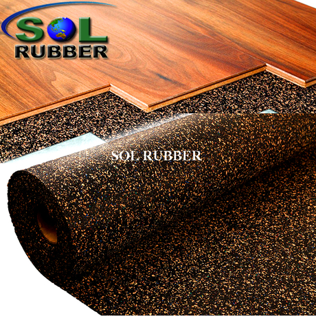 SOL RUBBER Acoustic Underlay rubber Mat with Optimal Sound Absorption fine SBR granuless mixed with foam and sawdust bodies