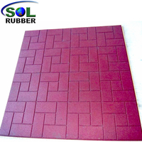 SOL RUBBER outdoor driveway recycled rubber brick tiles mats lowes fine SBR granules surface, bigger SBR granules bottom