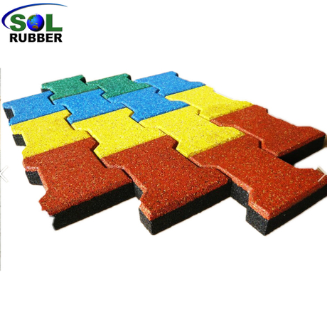 SOL RUBBER outdoor driveway recycled rubber brick tiles patio pavers mats lowes EPDM granules surface, bigger SBR granules bottom